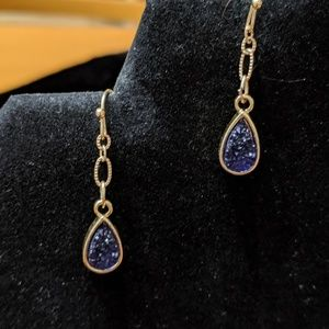 Sapphire blue druzy earrings